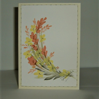 floral hand painted greetings card (ref f 457)