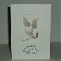 hand painted floral birthday card (ref F 469)