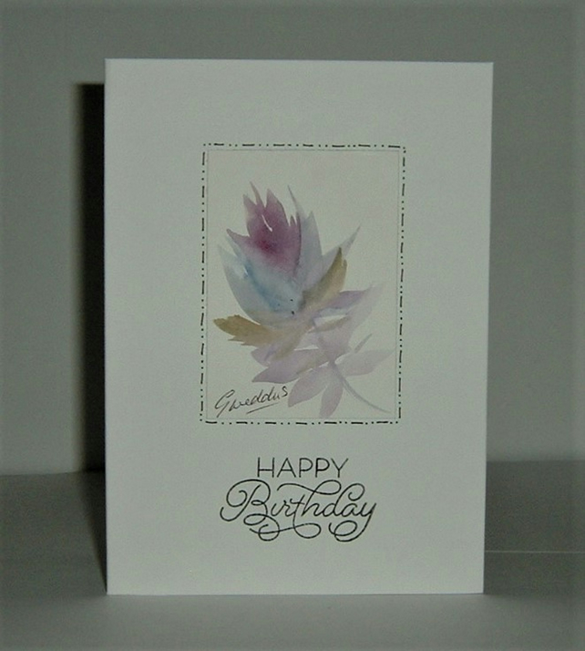 hand painted birthday card ( ref F 471)