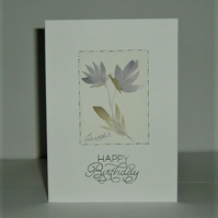 hand painted floral birthday card ( ref f 472)