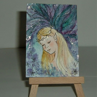 fantasy fairy art painting with glitter. ( ref F 478)