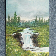 acrylic waterfall painting. ( ref f 494)