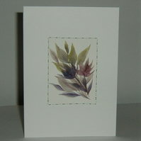 Hand painted floral greetings card ( ref f 497)