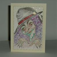 hand painted original witch card (Halloween) ( ref f 506)
