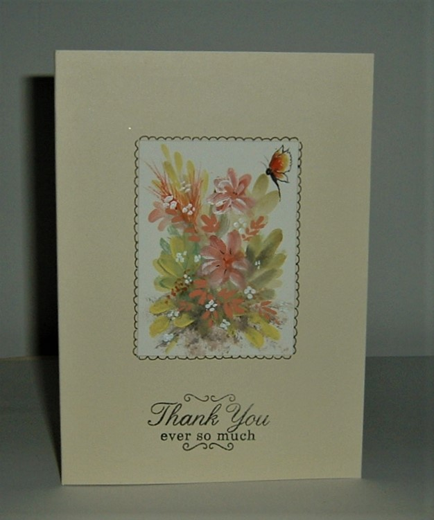 Hand painted Thank You card ( ref f 515)
