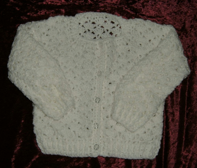 "SALE 24-26"" girl's crochet white lacy cardigan (ref F309)"