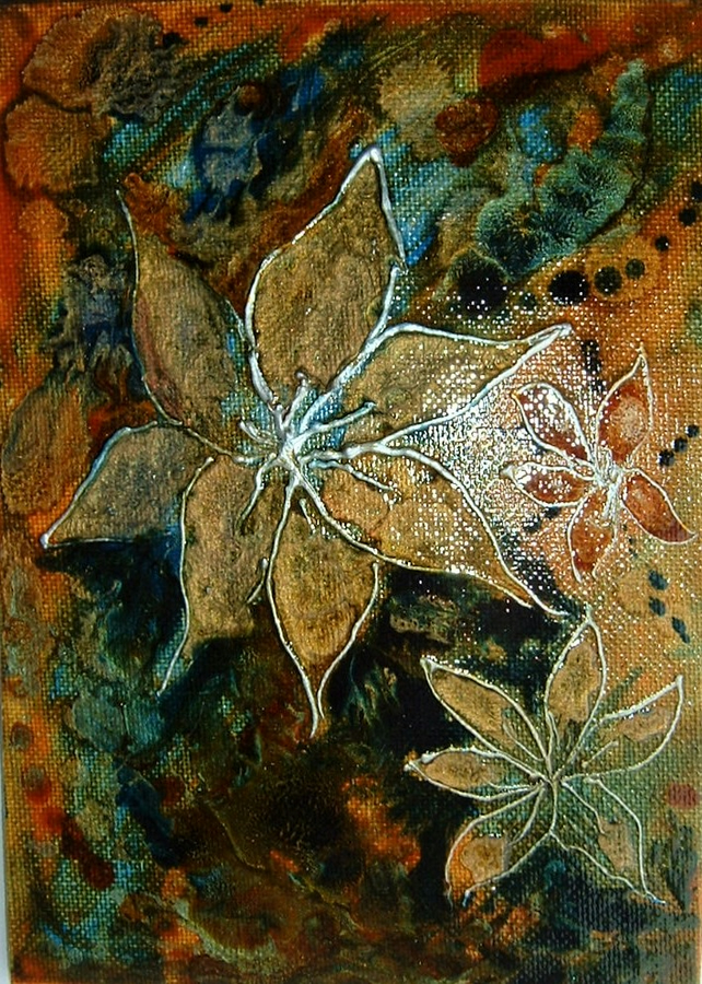 A mixed media floral painting (ref F315)