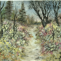 Spring woodland watercolour painting (ref F322)