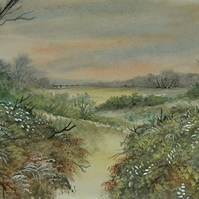 Watercolour landscape art 7x5 painting (ref F343)