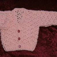 SALE Pink lacy baby cardigan (ref F359)