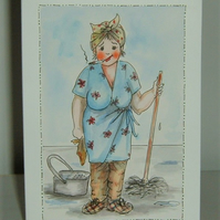 hand painted original cartoon greetings card ( re F546)