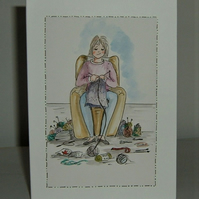 hand painted original cartoon Knitting card ( ref F 550)