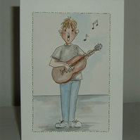 cartoon original art boy guitarist. ( ref F 551)
