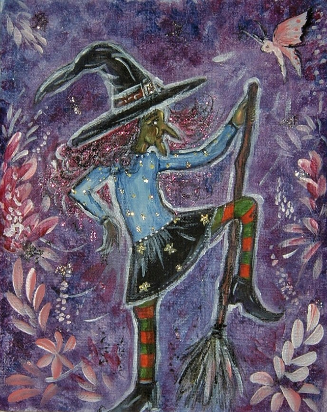 original acrylic art painting witch ( ref F 552)