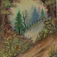original watercolour autumn landscape art ( ref F 557)