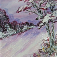 acrylic original winter art painting ( ref  F 558)