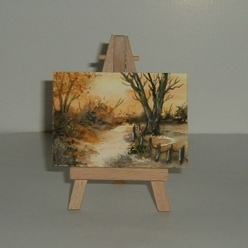aceo atc watercolour landscape original art. ( ref f 570)