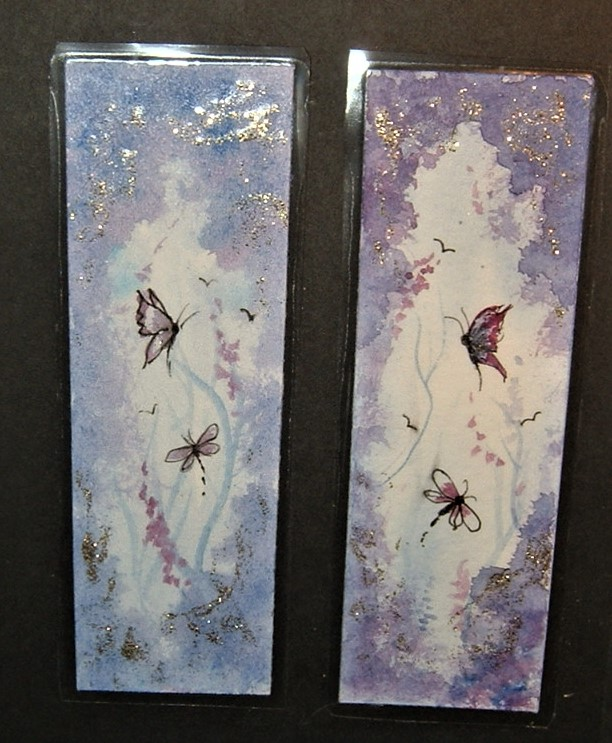 TWO hand painted laminated fantasy bookmarks ( ref F 595)