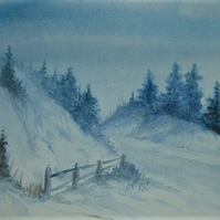 original art winter watercolour painting ( ref F 598)