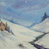 Winter original art painting. ( ref F 609)