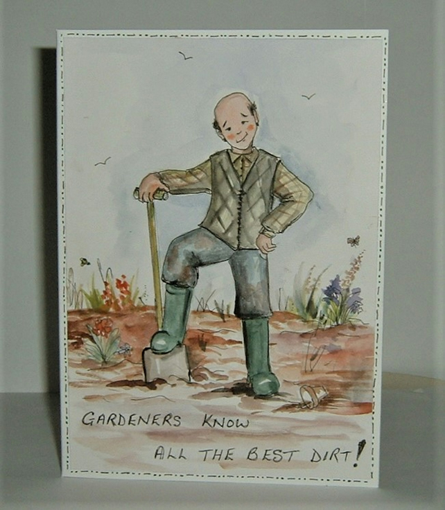 Gardener's  cartoon greetings card ( ref F 726)
