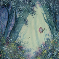 original art fantasy woodland painting ( ref F 731)