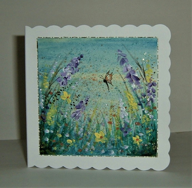 hand painted blank greetings card ( ref F 745)