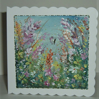 hand painted blank greetings card (ref F 746)