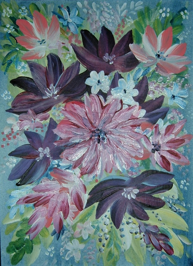 original art floral painting ( ref F 803)