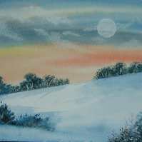 original art painting snowscene ( ref F 810)