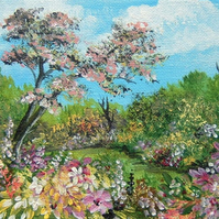 original art landscape summer garden painting ( ref F 812)