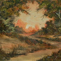 original art acrylic woodland painting ( ref F 828)