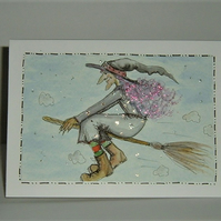 hand painted original witch cartoon greetings card ( ref F 859)