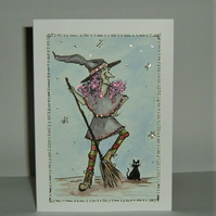 hand painted cartoon witch greetings card...( ref F 860)