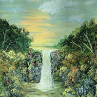 original art waterfall landscape painting ( ref F905)