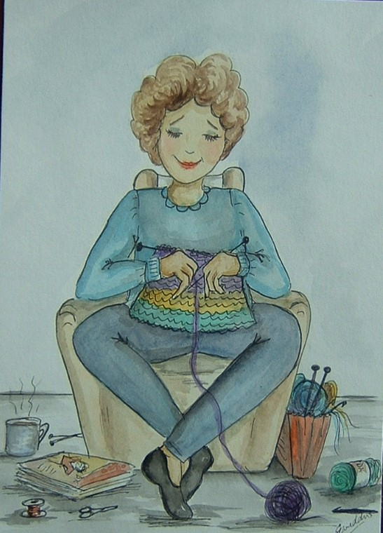 original art cartoon knitter ( ref F 904)