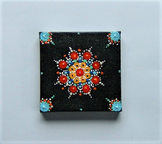original hand painted mandala canvas painting ( ref F 923)