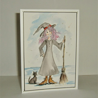 Hand painted cartoon witch Halloween blank greetings card ( ref F 927)