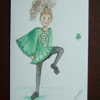 cartoon Irish Dancer cartoon ( ref F 881)