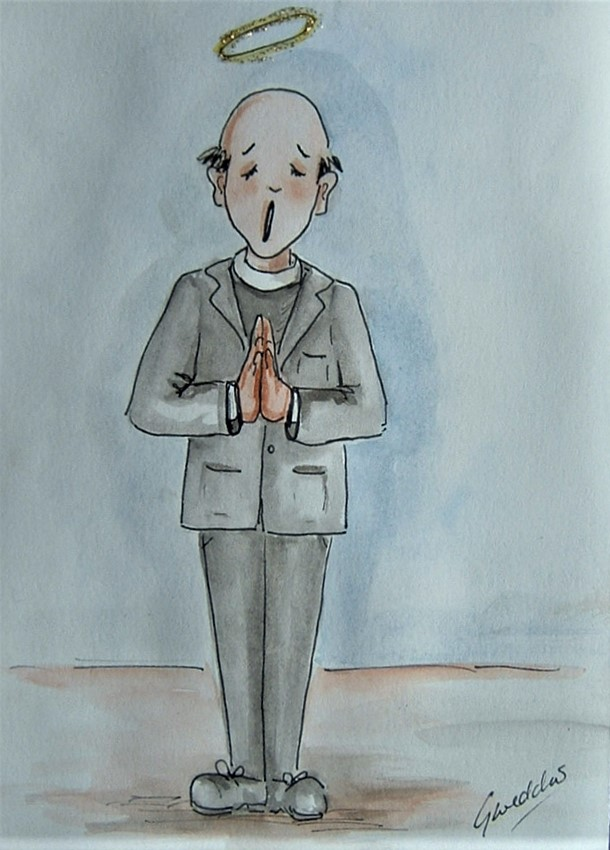 original art cartoon Vicar ( ref F 696)