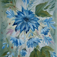 original art floral painting. ( ref F 712)