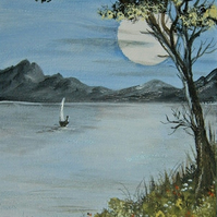 original art sailing painting ( ref F 946)