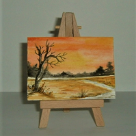 original art aceo autumn sunset painting ( ref F 963)
