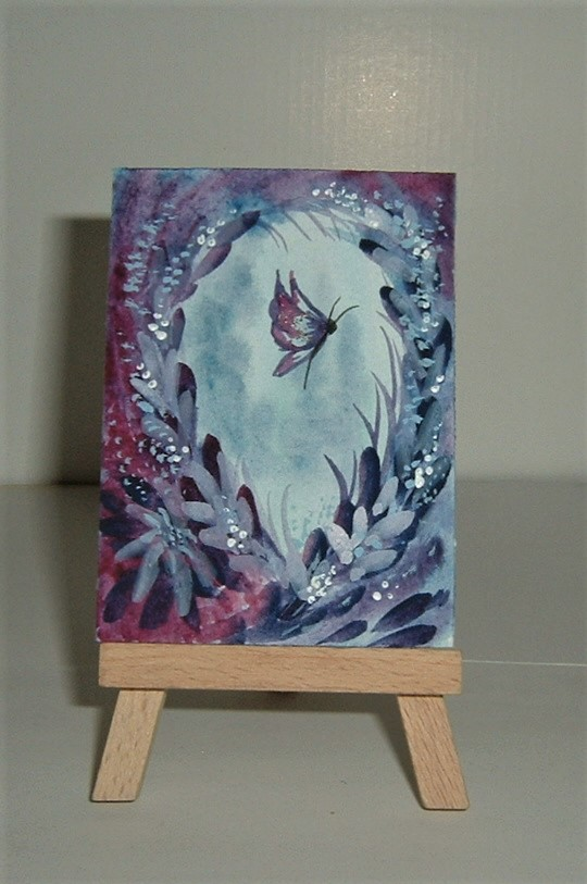 purple glitter original art aceo painting ( ref F 966)