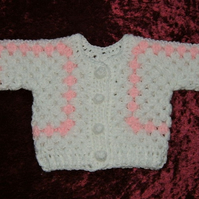 crochet first size baby cardigan ( ref F 970)