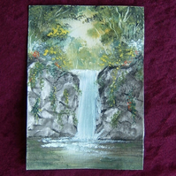 original art landscape waterfall watercolour painting ( ref f 134)