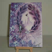 original art fantasy purple painting ( ref f 136)