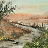 original art landscape watercolour painting ( ref 142)