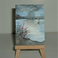 stormy lake aceo miniature watercolour painting ( ref FK23)