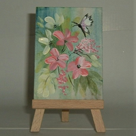 Aceo original art floral painting ( ref  F57)